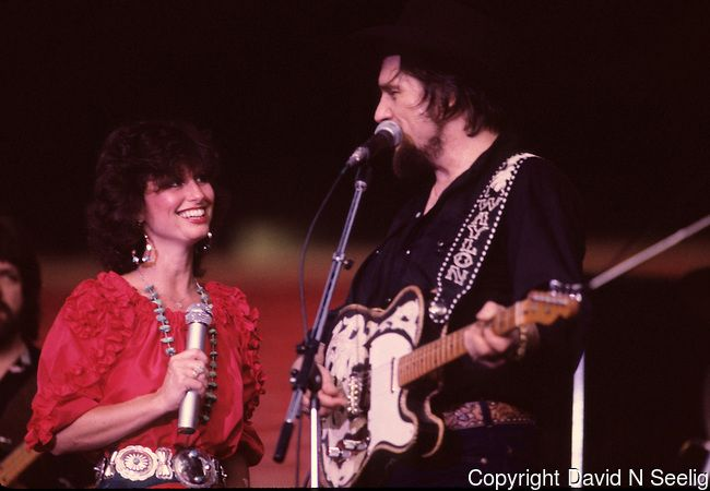 Waylon Jennings and Jessie Colter at the Willie Nelson picnic July 3 1983 at Giants Stadium