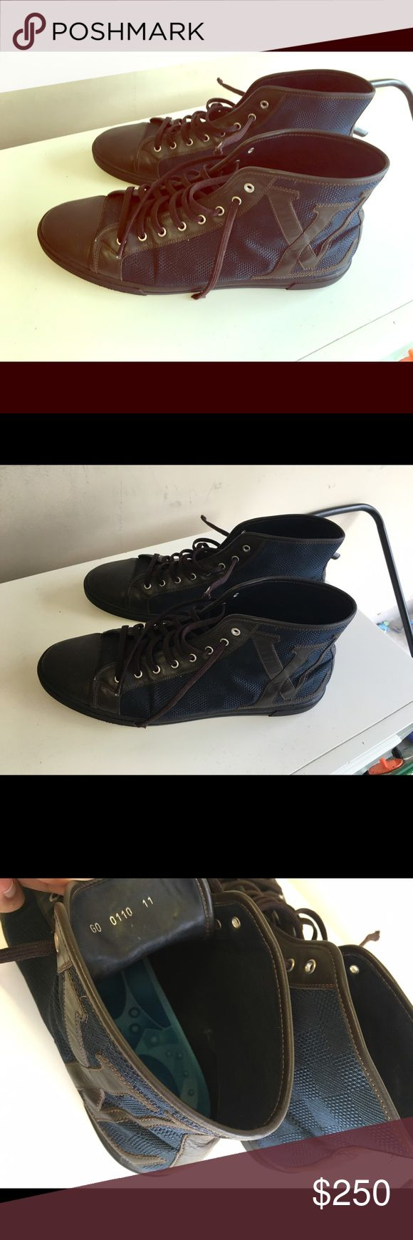 Blue and Brown Authentic Louis Vuitton Sneakers Slightly worn Louis Vuitton men's sneakers Louis Vuitton Shoes Sneakers