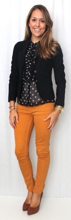 Inspiration photo: I paired a black-and-white polka-dotted sheer blouse with a black cardi and skinnies.Two items I had and never thought to pair!