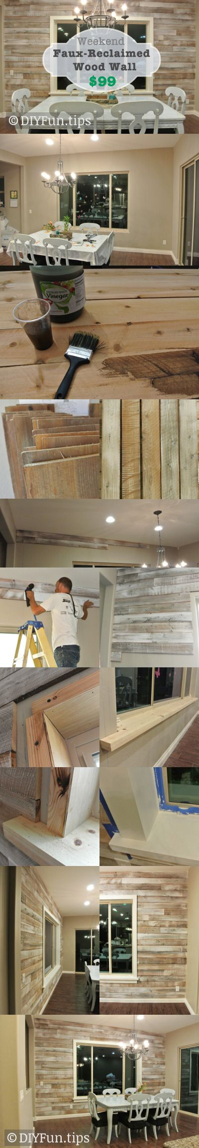 "DIY Faux-Reclaimed Wood Wall. Put up a ""reclaimed wood"" wall for less than $99 bucks."