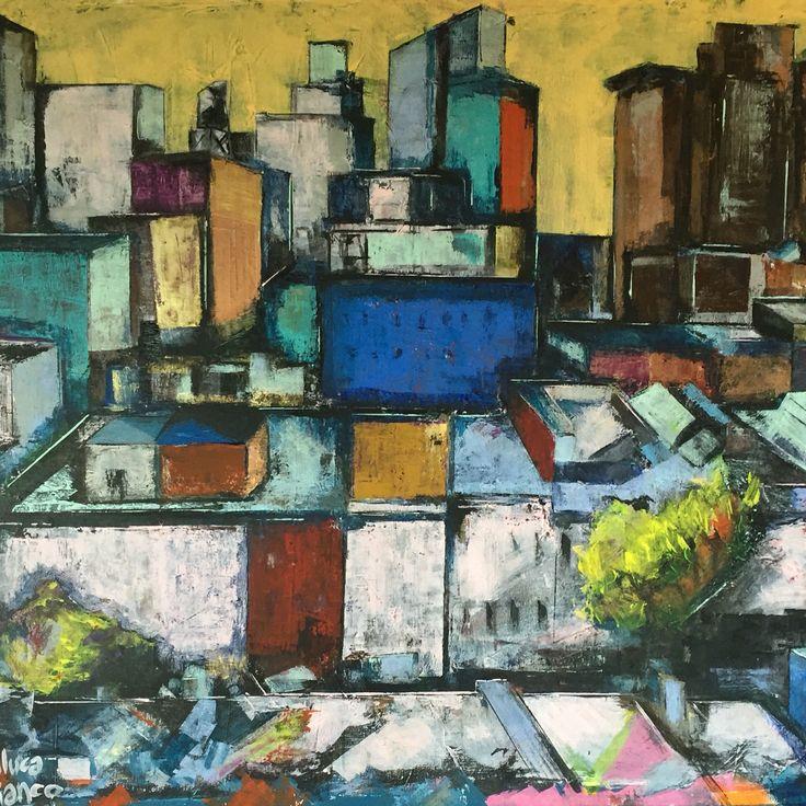 Città - acrilico ed olio su tela cm. 120x100 - paintings by Gianluca Dal Bianco