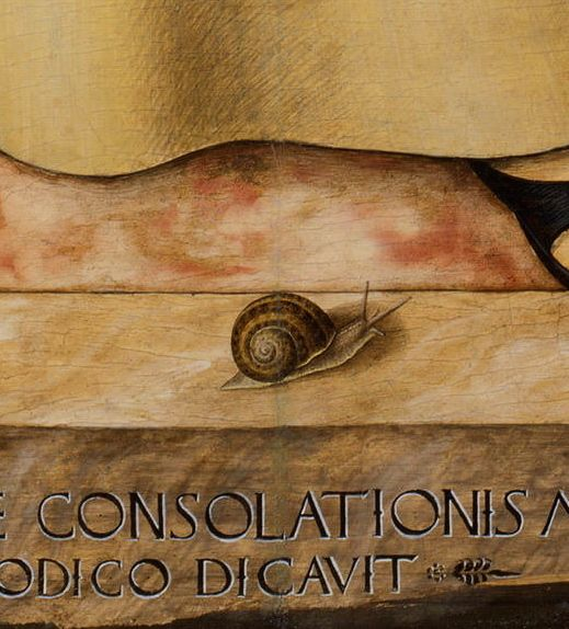 Madonna and Child with Saint Francis and Saint Sebastian (detail), 1491, by Carlo Crivelli (Italian, c.1435–1495)