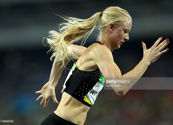 Sage Watson of Canada competes in the Women's 400m Hurdles Semifinals on Day 11 of the Rio 2016 Olympic Games at the Olympic Stadium on August 16, 2016 in Rio de Janeiro, Brazil.
