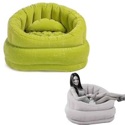 Green Inflatable Air Blow Up Arm Chair Couch Sofa