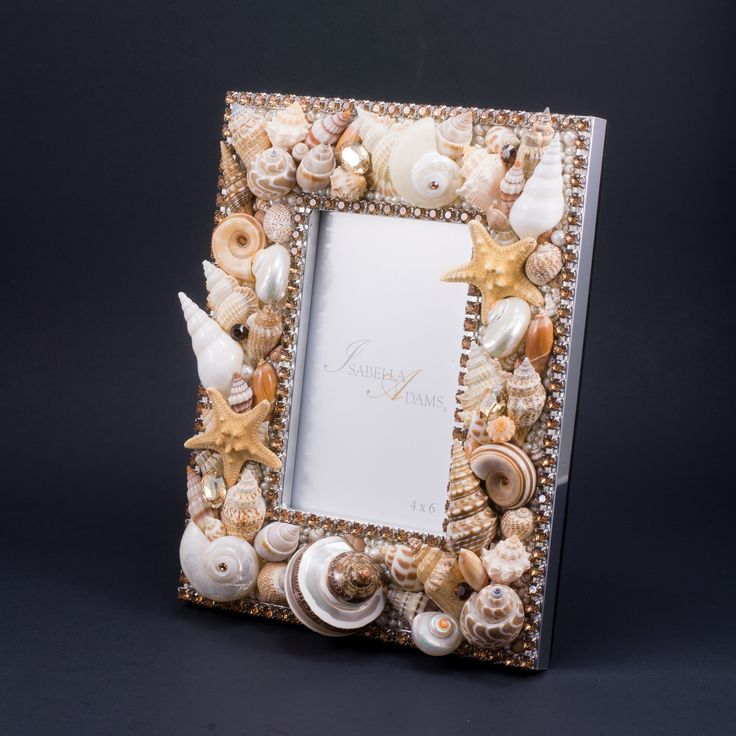 4 x 6 Seashell Picture Frame Featuring Topaz Swarovski © Crystals