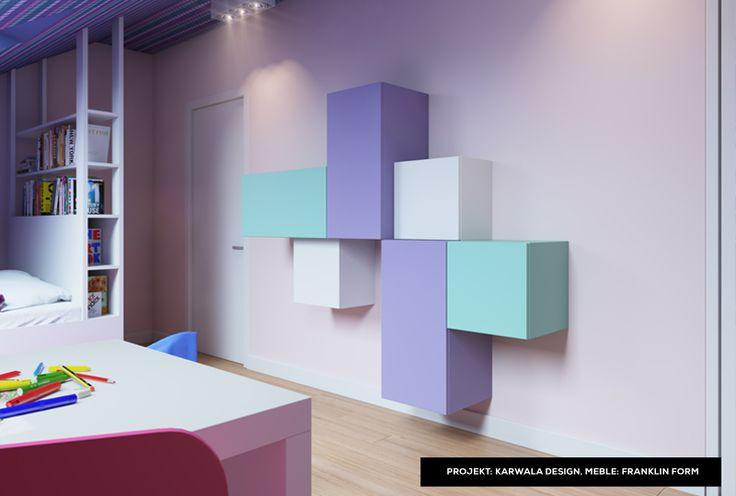 Colorful teenager bedroom idea & modular shelves