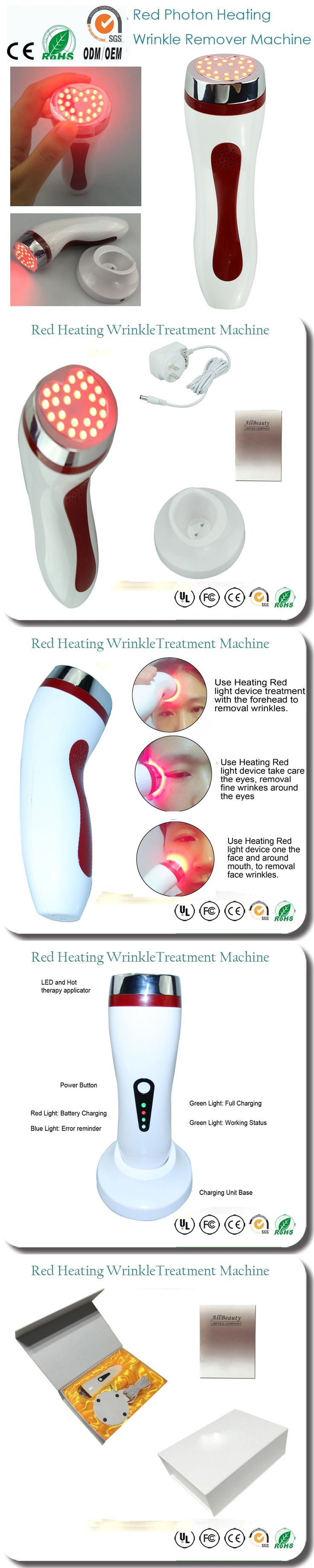 Portable Home Use PDT Red Led Light Photon Therapy Wrinkle Remover Skin Rejuvenation Whitening Firming Beauty Equipments