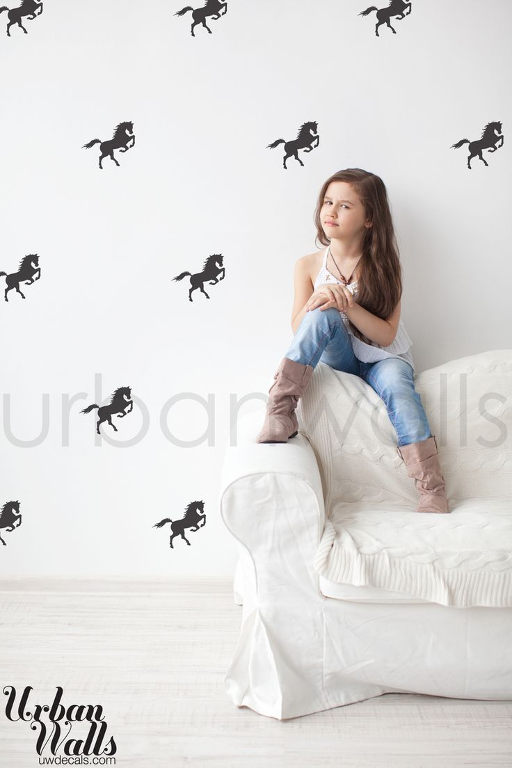 Urbanwall decals - A horse print on repeat for the pony lover in all of us. Perfect for a nursery or little girl's room.