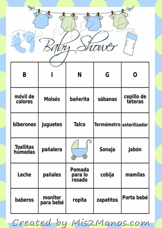 Baby Shower Bingo Game: Blue & Green Clothes Line; LOTERIA- Set of 24 ...
