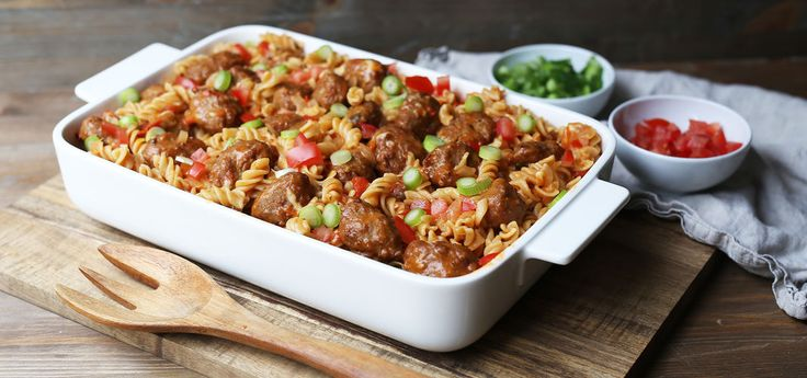 Kjøp Alt-i-ett pasta med kjøttboller og resten av ukeshandelen med ett klikk! Barnevennlig, utrolig enkelt og minimalt med oppvask. Alt går rett i samme gryte og du har en kjempegod hverdagsmiddag.