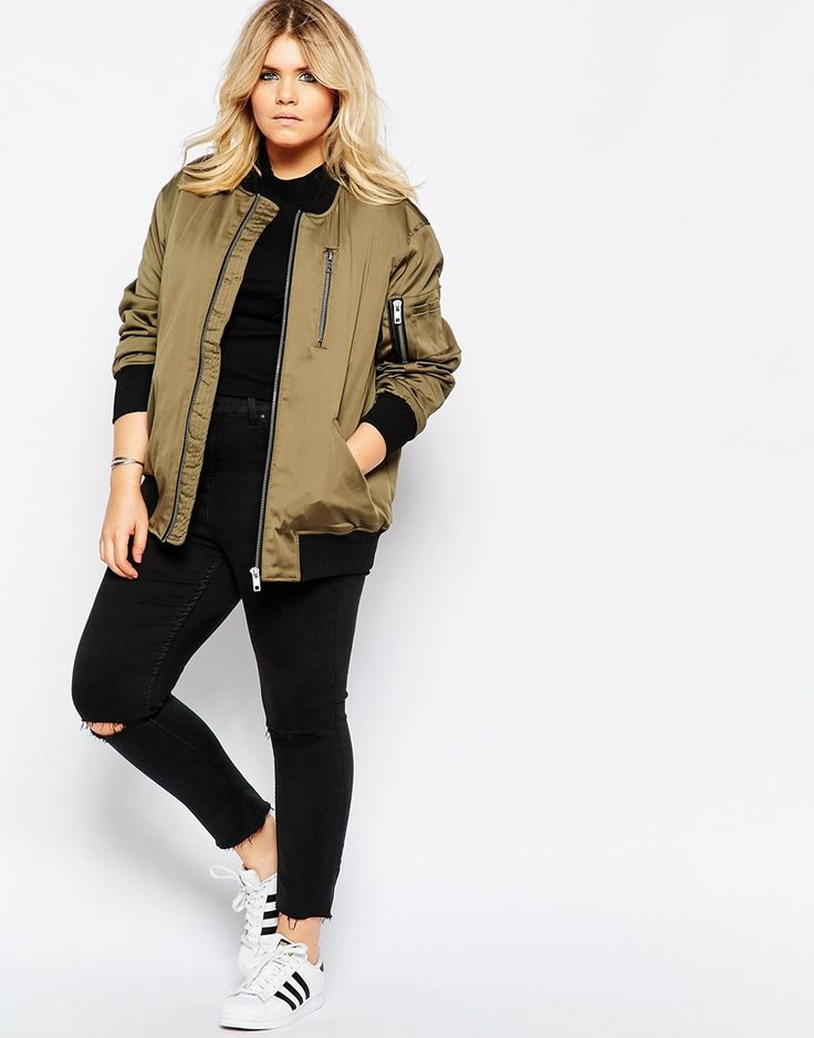 Image 4 of ASOS CURVE Bomber Jacket with Zip Detail
