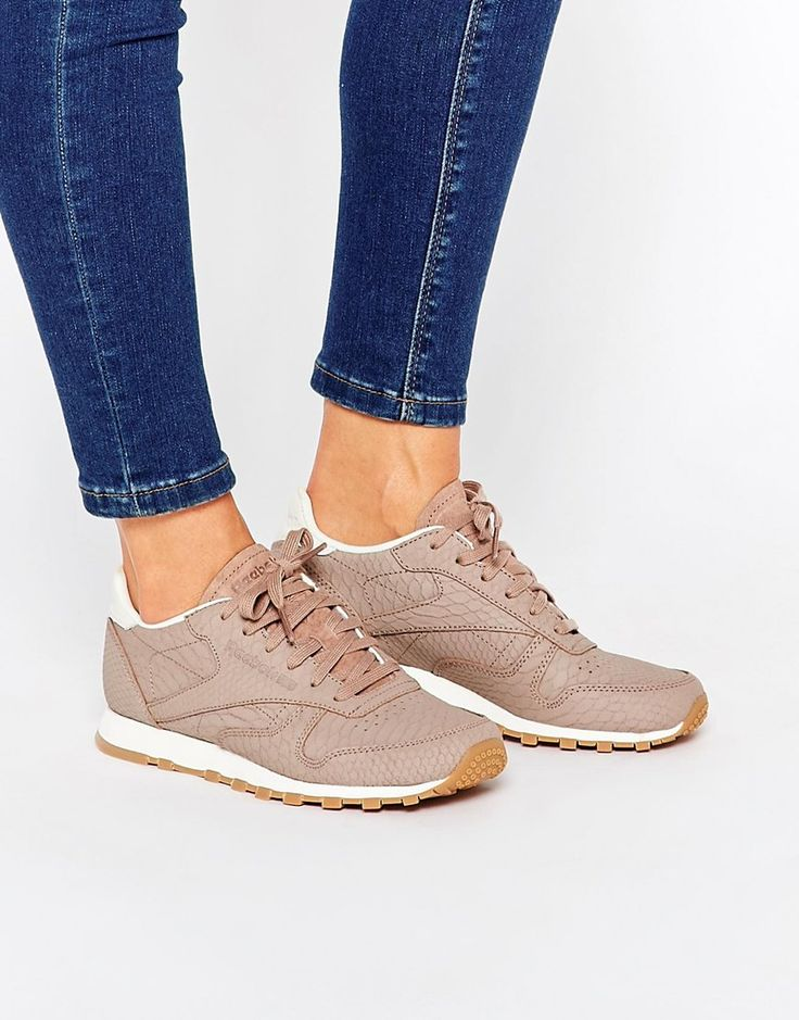 Image 1 ofReebok Taupe Classic Leather Trainer With Snake Texture