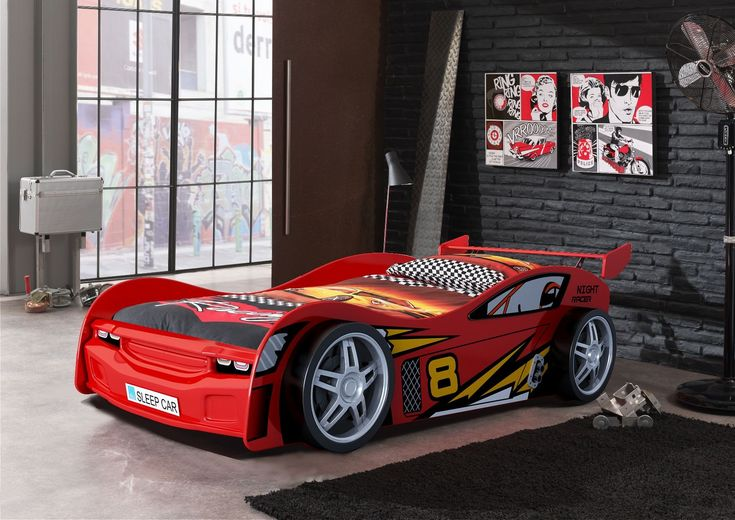 Night Racer kids car bed with racing themed linen and garage style décor. Available at Forty Winks.