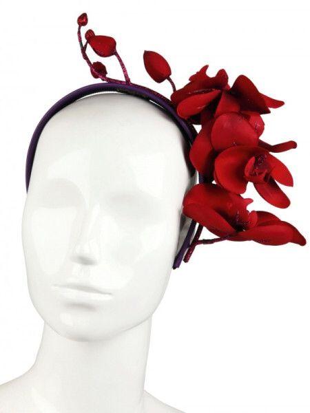 Red floral fascinator