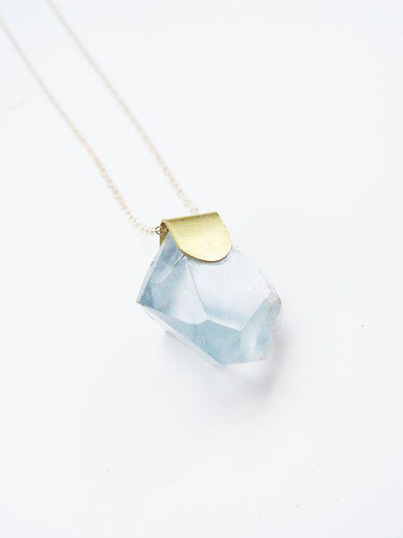 Blue Aquamarine Crystal Necklace Gold OOAK by friedasophie on Etsy