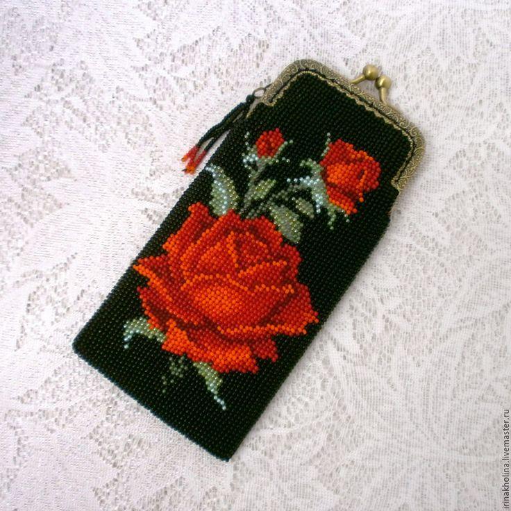 Купить Очечник из бисера Роза алая - Очечник, очечники, очечник из бисера, очечник с фермуаром, очешник