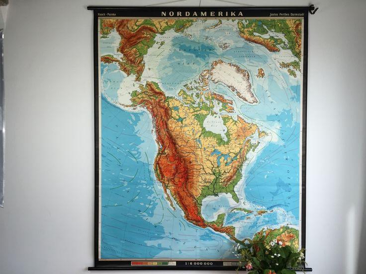 Kaart van Noord-Amerika, Nordamerika (Duitstalig)