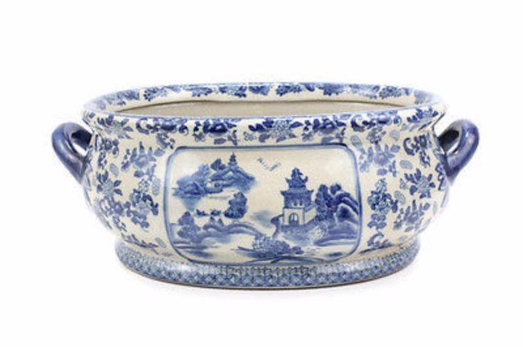 """Unique Large Blue & White Blue Willow Crackle Finish Porcelain Foot Bath 22""""L"""