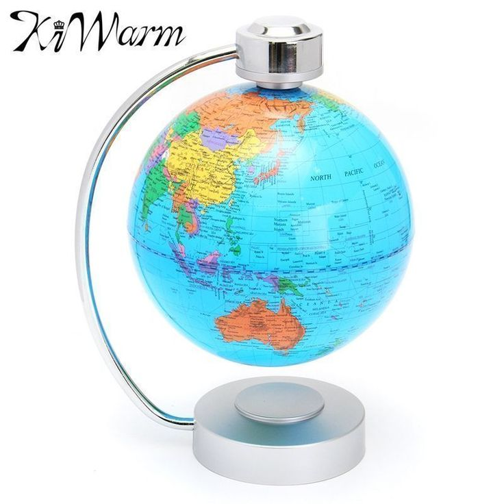 KiWarm Modern LED Magnetic Levitation Floating World Globe Atlas Map With Swivel Stand For Office Decor Craft Ideal Miniatures #Affiliate