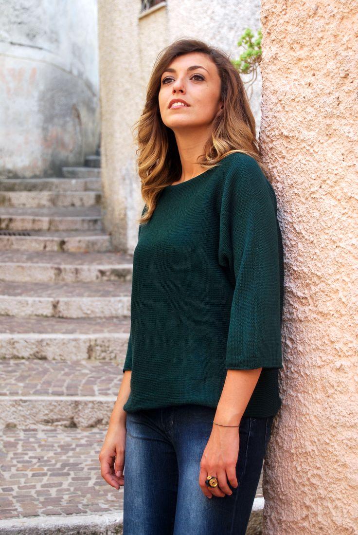 T-SHIRT 03. It's 1 t-shirt but you could wear it in 3 different ways: t-shirt, bolero shoulder or one shoulder t-shirt wih a fake pocket. Handmade, 100% made in Italy #homimilano #tshirt03 #nicolettafasani #wool #Basilicata #Italy #madeinitaly #italianfashion #dress #handmade #tshirt #bolero