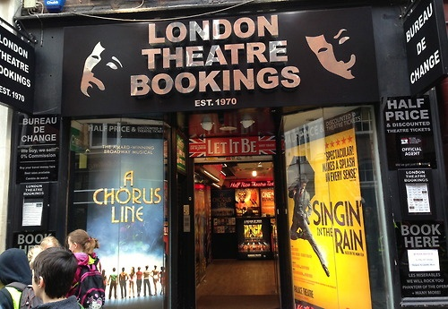 London Theatre Bookings office, right next to the Covent Garden tube station - half-price tickets!