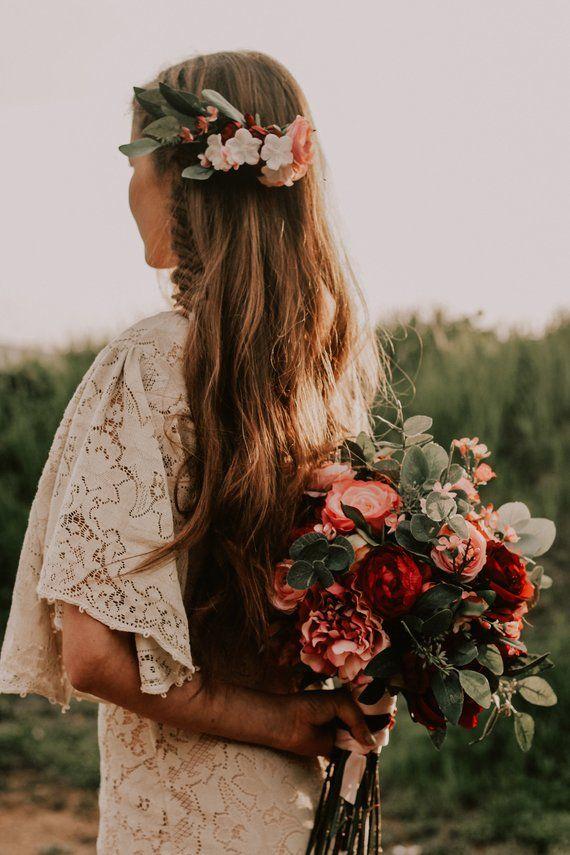 Hochzeitsstrauß, Hochzeitsblumen, Boho Blumenstrauß, Brautstrauß, Rosa, Rot, Burgunder, Eukalyptus, Hochzeitsblumensatz, Hochzeit am Bestimmungsort   – sweet looking places