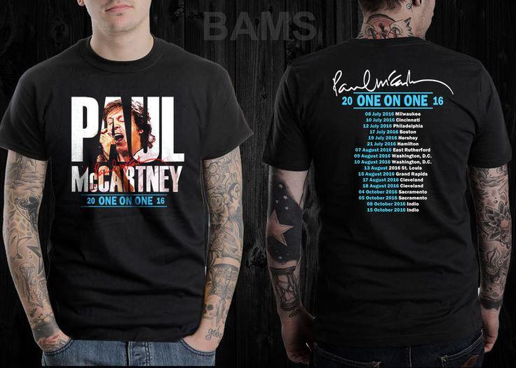Paul McCartney One On One Tour Dates 2016 Black T Shirt S M L XL 2XL #Handmade #GraphicTee