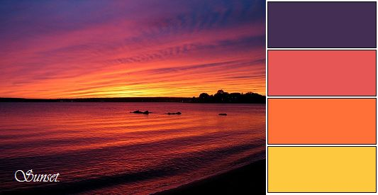Romantic Sunset: Deep Purple, Coral, Tangerine, Intense Yellow