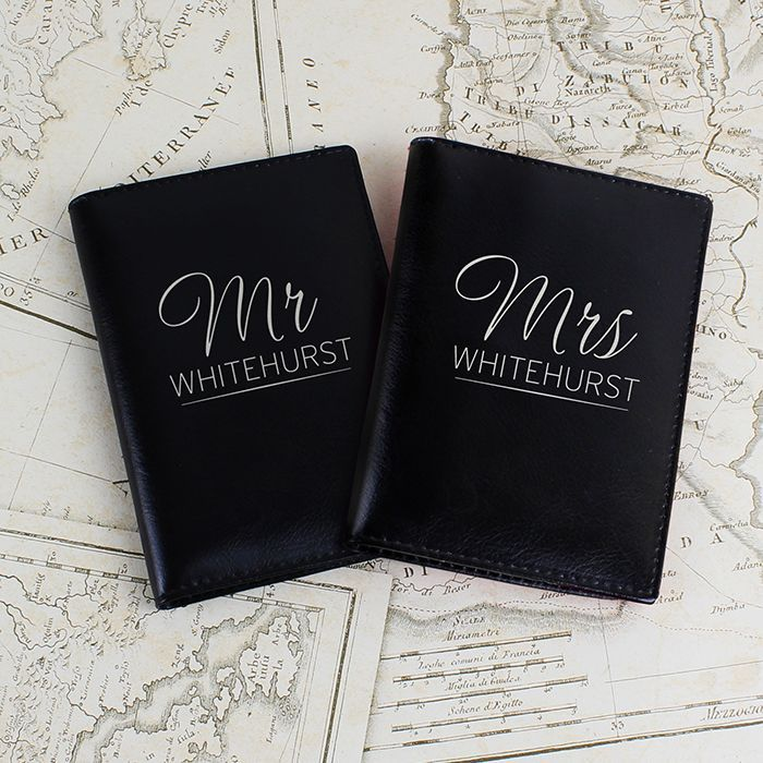 A stylish passport holder set to take with you on your travels You can personalise this passport holder set with a surname up to 12 characters long