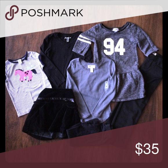 Girls size 5 mixed lot, Carter's, Old Navy etc Girls size 5 mixed lot, Carter's, Old Navy etc. some new with tags! Carter's horse shirt, The Children's Place black adjustable velvet skirt, solid black long sleeved shirt, heathered grey long sleeved shirt with lace trim, Old Naby sweatshirt dress, Cherokee brand new black essential pants. Hello Kitty black leggings. Smoke free home Carters Shirts & Tops Tees - Long Sleeve