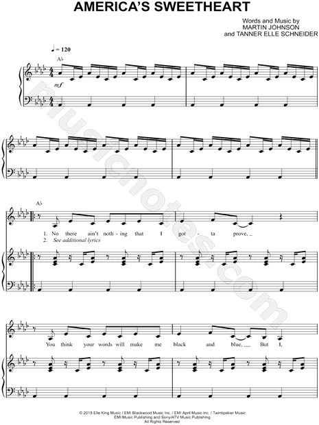 Print and download America's Sweetheart sheet music by Elle King. Sheet music arranged for Piano/Vocal/Chords, and Singer Pro in Ab Major.