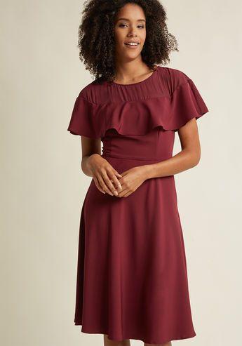 Illusion Ruffle Midi Dress in Merlot