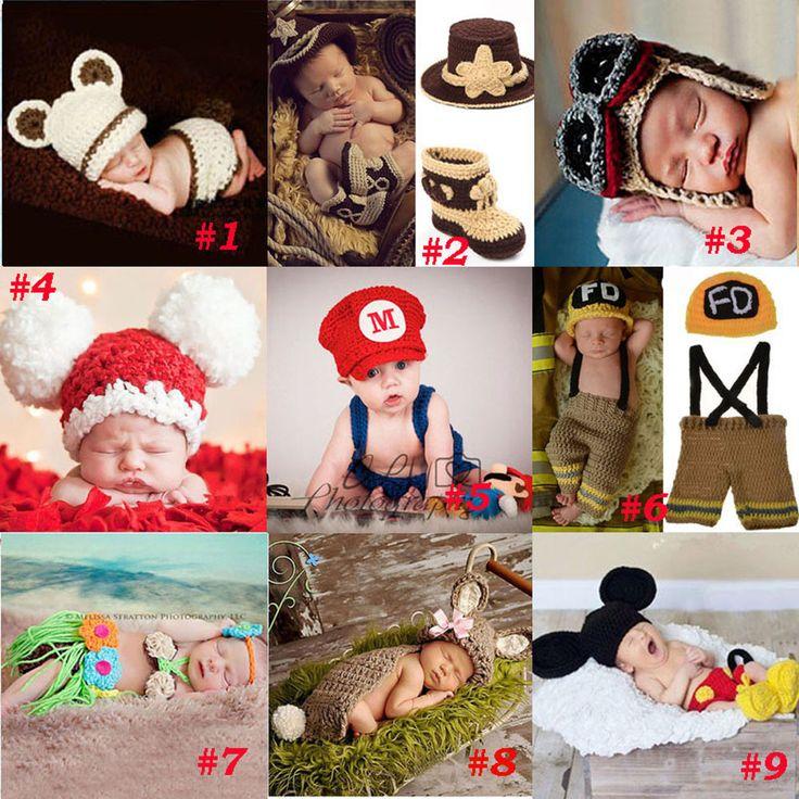 Hecho a mano de Ganchillo Accesorios de Fotografía de Punto Sombrero Del Bebé Recién Nacido Niño Niña Traje Traje de Bombero de Vaquero Super Mario SG043