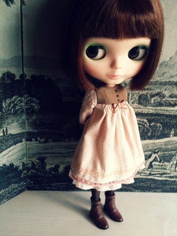 moshi moshi studio - Shell pink smock for Blythe dolls