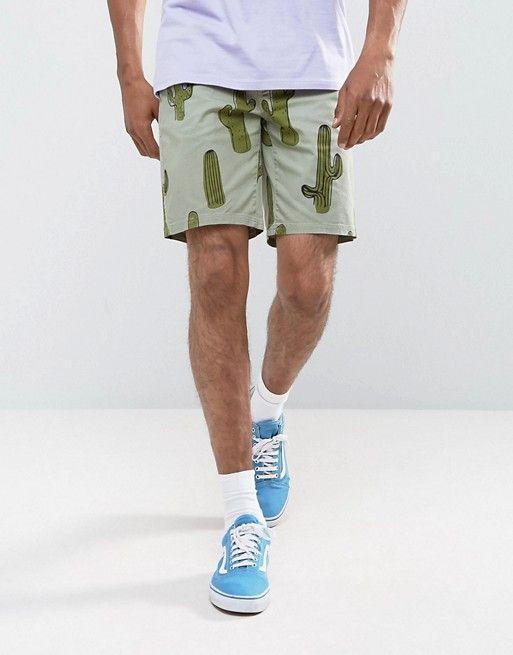 ASOS Slim Chino Shorts In Cactus Print