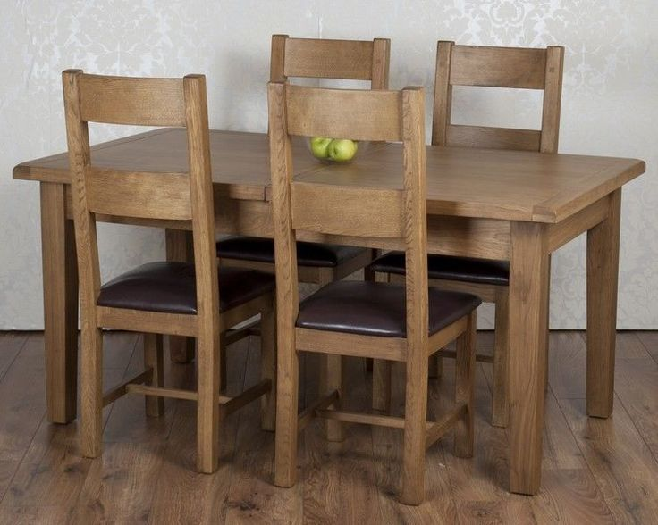 Solid Chunky Rustic Oak Dorset Extending Dining Table 4 Chairs RRP £1129!! in Home, Furniture & DIY, Furniture, Table & Chair Sets | eBay