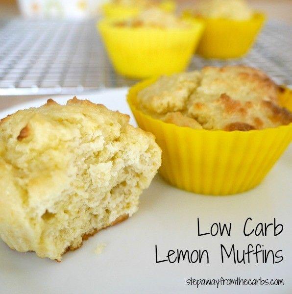 Low Carb Lemon Muffins - a healthy zesty treat! Sugar free recipe.