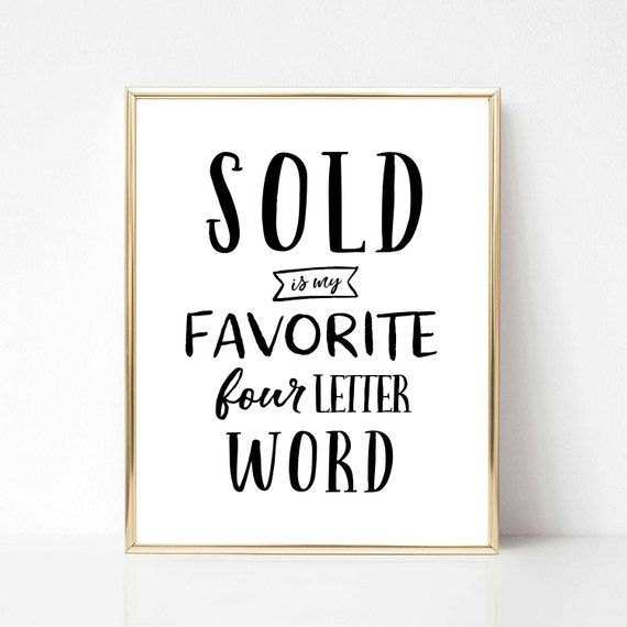 Sold Is My Favorite Word Real Estate Quote Gift   Real Estate Wall Art   Real Estate Office Decor   Real Estate Agent Gift   Co-Worker Gift
