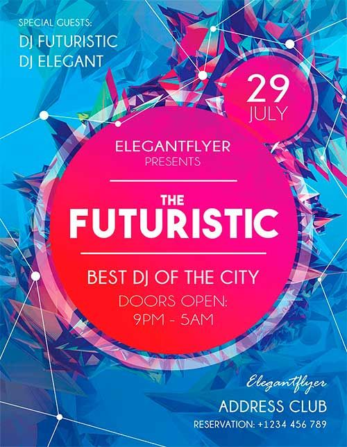 Futuristic Flyer Free Flyer PSD Template - http://freepsdflyer.com/futuristic-flyer-free-flyer-psd-template/ PSD is set up in 2625×3375 dimension (8,5″ х 11″ with 0,25″ bleed). You can easily change texts, content, images, objects and color palette. The PSD file is very well organized, with color coded groups and layers named appropriately.  #Club, #Disco, #Dj, #EDM, #Electro, #Event, #Minimal, #Night, #Nightclub, #Party, #Pink
