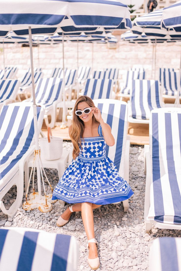 Gal Meets Glam Blue & White in Nice, France - Kate Spade NY dress, Castaner espadrilles & Raen sunglasses