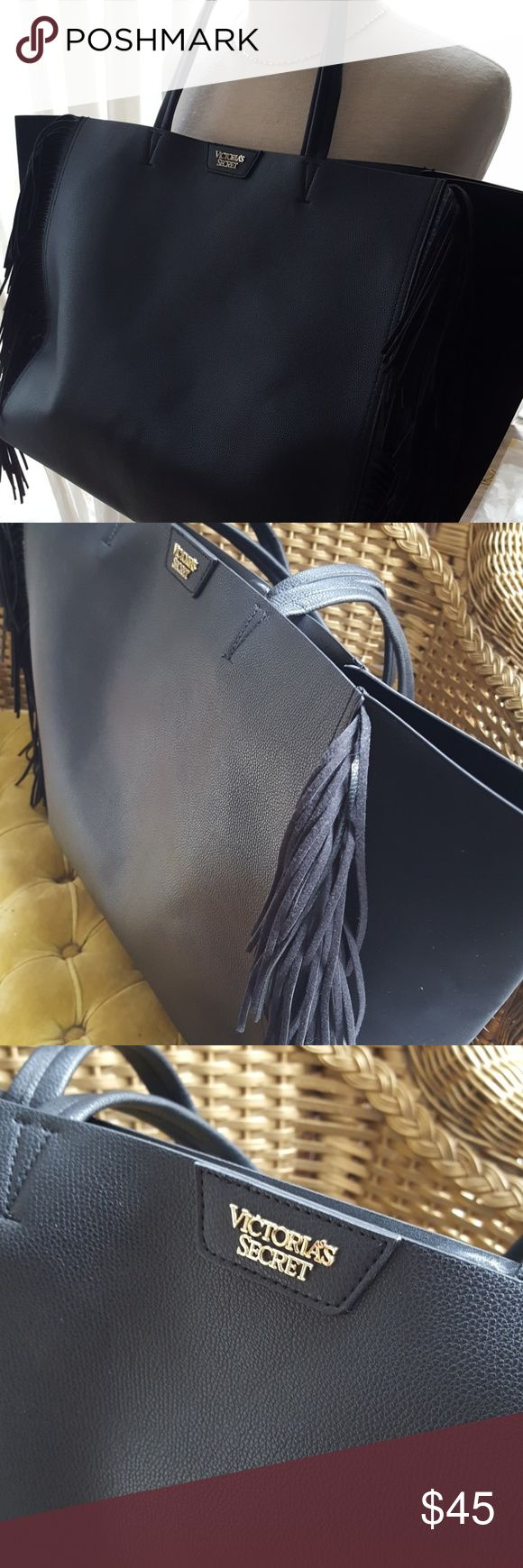 """Victoria's Secret black on black fringe tote New without tags, black fringe tote by Victoria's Secret. Would make a great travel buddy! Bag measures 23"""" wide by 14"""" tall with a spacious interior. Victoria's Secret Bags Totes"""