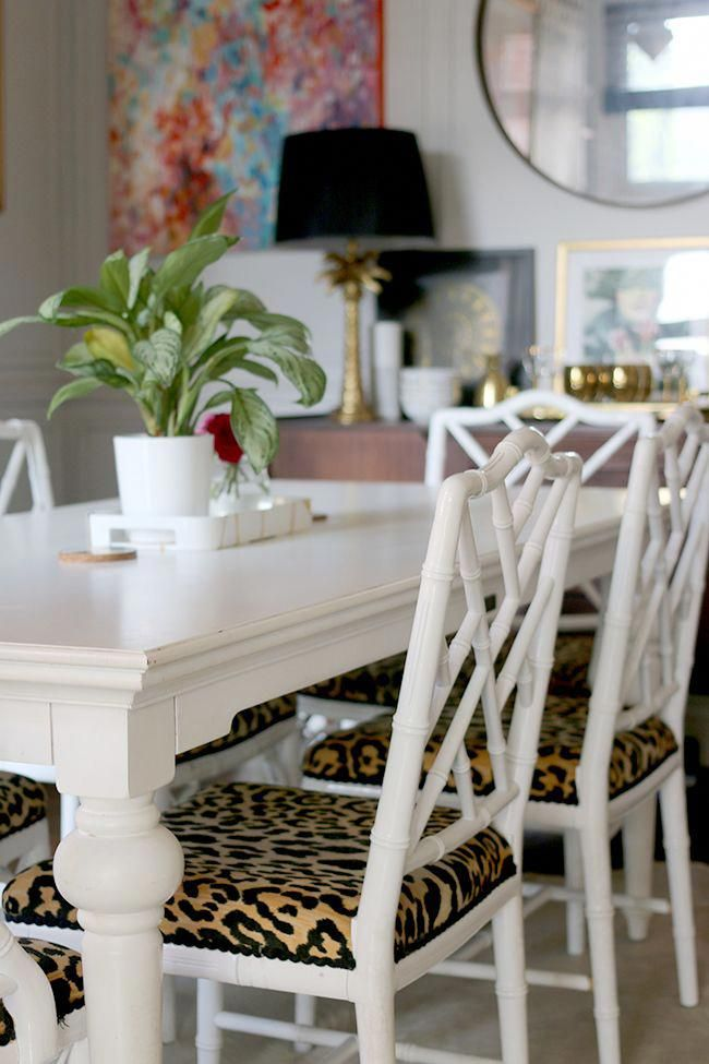Dining Room With Faux Bamboo Chairs And Leopard Print Seats Whitediningchairs Dining Room Chair Cushions Yellow Dining Room Dining Room Decor