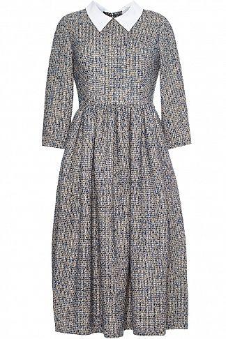 твидовое платье с воротничком