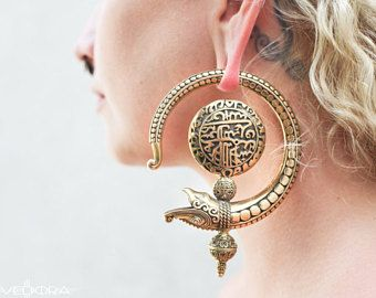 Dragon Ear Weights~Dragon Earrings~Tribal Brass Earrings~Brass Hoops Earrings~Belly Dance Earrings~Gold Serpent Earrings Vedora