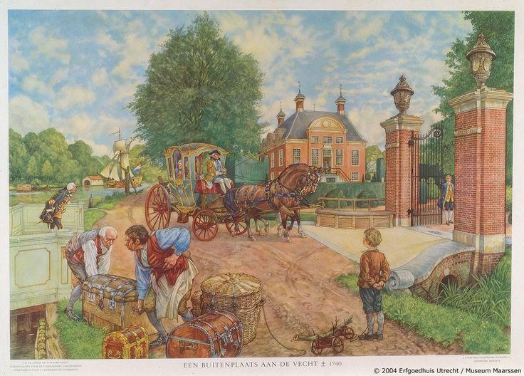 Een buitenplaats langs de Vecht, ca. 1740 | Schoolplaat Isings