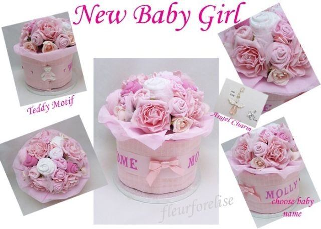 Personalised Baby Girl Clothes Bouquet Nappy Cake Gift O