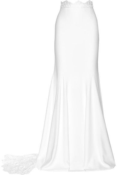 TO SWEEP OFF YOUR FEET: Rime Arodaky's floor-sweeping white maxi skirt is designed with the modern bride in mind. Cut to sit at the slimmest part of your waist, this crepe 'Pennington' style is complete with a stunning lace train and waistband. Complete the look with the coordinating top.