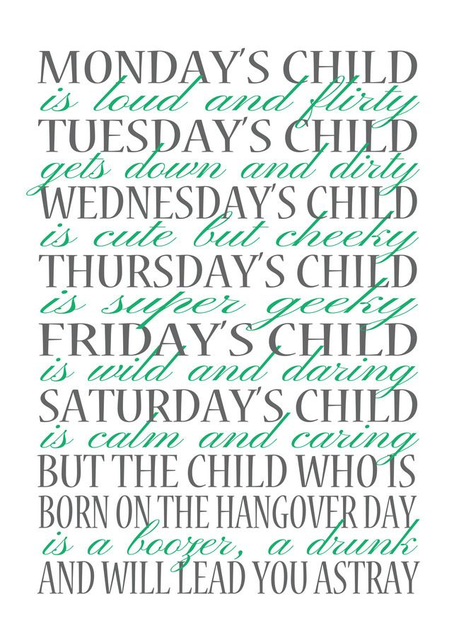 Original Monday's Child Print
