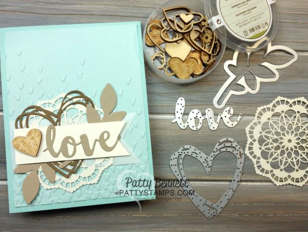 "Supplies used for Falling Petals embossing folder ""Love"" card featuring Stampin' Up! Occasions catalog supplies, by Patty Bennett, www.PattyStamps.com"
