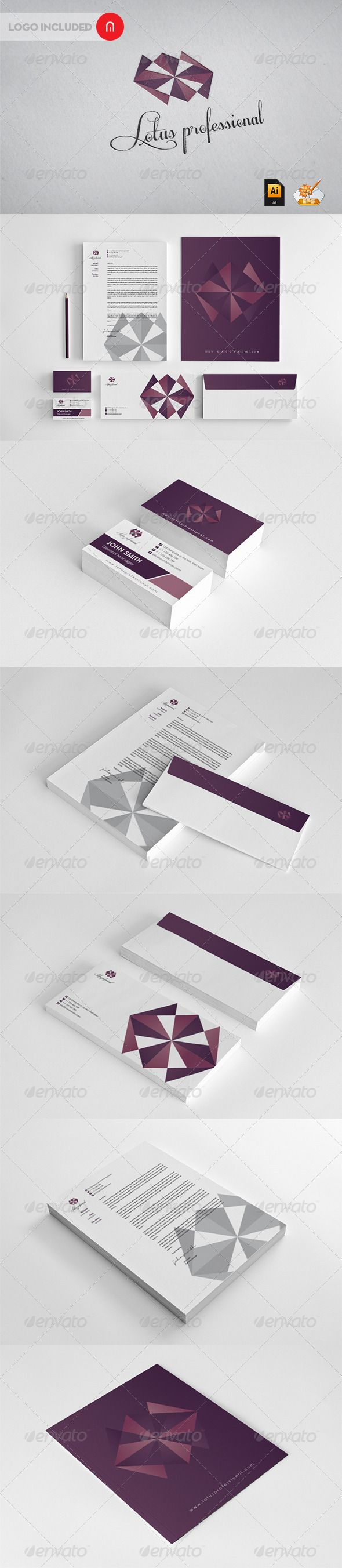 Lotus professional Corporate Identity  #GraphicRiver         Modern Vector Logo 1.Business Card (3.5×2) 2.Letterhead 2 designs 3.Envelope 2 designs 4.Presentation Folder Professional and high quality vector branding graphics and elements included Fully editable Ready for printing!  	 Maybe you can also be interested in these elements            Created: 18July12 GraphicsFilesIncluded: VectorEPS #AIIllustrator Layered: Yes MinimumAdobeCSVersion: CS4 Tags: corporate #identity #lotus…